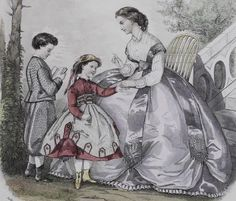 Fashion print with children ca 1860, also young mother in silk skirt & waist and fancy white bodice.
