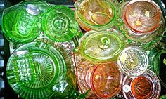 Depression Glass, a kind of Uranium Glass, was given away (mostly) free during the Great Depression of the 1930s