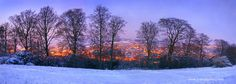 Panoramic view of Stroud from Minchinhampton in the snow