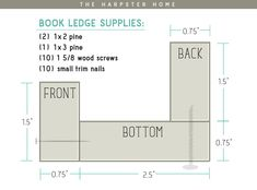 Book Ledge Post DIY Book Ledges - supply list and how it all goes together. Click through for pictures. may refer to: Photo Shelf, Photo Ledge, Picture Shelves, Picture Ledge, Photo Wall, Diy Wood Projects, Diy Projects To Try, Home Projects, Book Ledge
