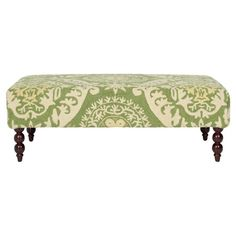 Birch wood ottoman with hand-hooked wool upholstery and British Colonial spindle legs.
