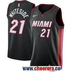 cd8e627b2995 Men s Nike Miami Heat  21 Hassan Whiteside Black Stitched NBA Swingman  Jersey