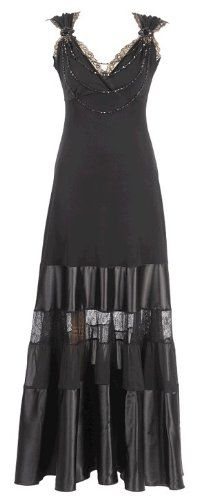 Michal Negrin Showstoping Special Occasion Full-Length Black Dress Made with Beaded Embellishment, Lace Trim and Crinkled Hemline