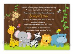 Crear invitaciónes baby shower safari - Imagui
