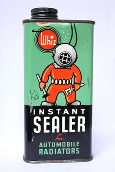 1940's WHIZ Diver Radiator Instant Sealer Old Gas Station Tin Oil Can Sign