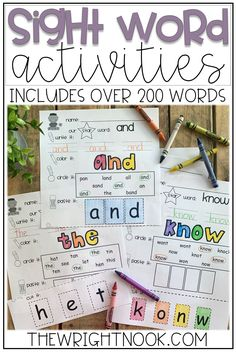 Check out these sight word activities for kindergarten and first grade! These printables are perfect practice for the classroom or to work on at home. Social Studies Activities, Sight Word Activities, Kindergarten Activities, Sight Words List, Sight Word Practice, First Grade Classroom, Kindergarten Classroom, Different Words, New Words