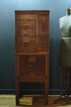 $200-500, Antique Tiger Oak Wood Filing Cabinet / Library by sevenbc