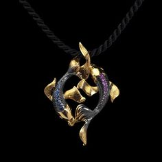 Mousson Atelier, collection Eden - Fish, pendant, Yellow gold 750, Black gold 750, Multicolored sapphires