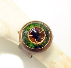Steampunk Ring Steampunk Evil Eye Gear Ring Gothic by DesignsBloom, $29.99