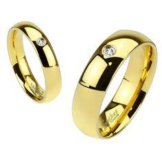 Rowan: 6mm 0.03ct Russian IOF CZ Stone Wedding Band Ring IP Gold - Trustmark Jewelers