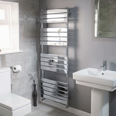Lorenzo Beta Heat 1600 x 600 Heated Towel Rail  - Stainless Steel Bathroom Radiators - Better Bathrooms