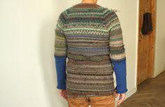 Handmade Icelandic style sweater with half blue sleeves by TASSSHA