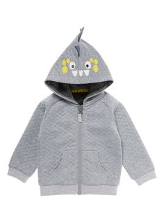 Your little one will adore this charming monster themed jacket. Featuring an diamond quilted exterior, this jacket is a perfect layering option for colder days.  Boys grey monster hood zip-through jacket Long sleeves Monster hood Diamond quilted exterior Zip fastening Two pockets Keep away from fire
