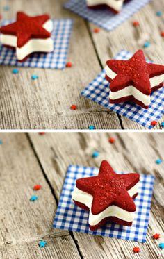 Patriotic Ice Cream Sandwiches   Click Pic for 35 Easy 4th of July Dessert Recipes for a Crowd   Easy 4th of July Desserts for Kids to Make