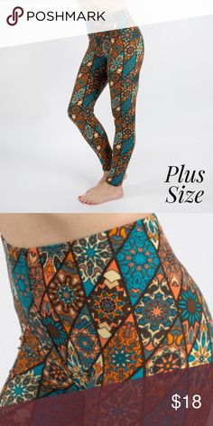 """NWT PLUS SIZE LEGGINGS   14 - 20 WOMENS PLUS SIZE - New Mix printed peach skin leggings are seamless, chic, and a must-have for every wardrobe. These lightweight, full-length leggings have a 1"""" waistband.  They are versatile, perfect for layering, and available in many unique prints.  92% Polyester and 8% Spandex. One size, fits  women's 16-20. Please FOLLOW us and check back often as I list new items daily. We appreciate your business --- The Direct Selling Nana BOUTIQUE Pants Leggings"""