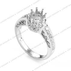 Bridal 18K White Gold Unique Diamond Set Engagement Ring