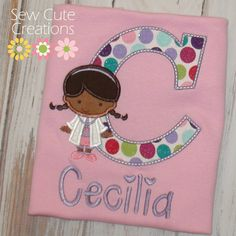 Personalized Doc McStuffins inspired Initial shirt