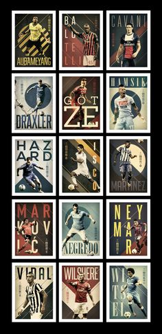 The poster series was made to show the top 15 players of football or soccer as we know, the type used is intense with the size and color to back up the intense motion of the photographed players.