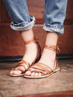 Harpoon Wrap Sandal | Strappy leather lace-up sandals with toe loop. Flat.