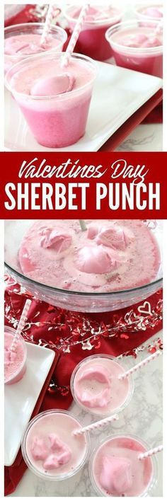 This Pink Sherbet Punch Recipe Made With Sprite is the Perfect Punch Recipe for Valentines Day Parties, Baby Showers and more. #valentinesday #punchrecipes #partypunch