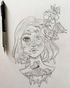 Girl Drawing Sketches, Art Drawings Sketches Simple, Love Drawings, Girl Sketch, Cool Sketches, Dark Art Drawings, Pencil Art Drawings, Arte Sketchbook, Cartoon Art Styles