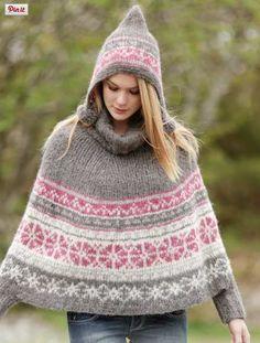 Modèle gratuit : Poncho à capuche Sweet Winter Drops