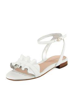 cd9d03e4f3d Taryn Rose Vesta Ruffle Leather Flat Sandal Leather Sandals Flat