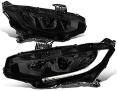 Amazon.com: Replacement for 16-18 Honda Civic Pair Smoked Housing LED DRL Projector Front Driving Headlight/Lamps: Automotive