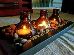 Beer Bottle Candle Holder - Wooden Pallets and home made DIY stuff - Beer Wine Bottle Candles, Wine Bottle Art, Bottle Lamps, Beer Bottles, Bottle Lights, Beer Bottle Crafts, Diy Bottle, Diy Luminaire, Diy Candles Easy