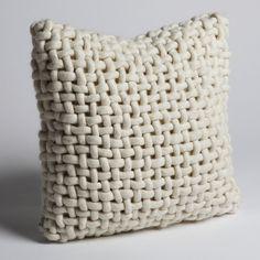 noodle felt pillow in bone.