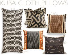 Kuba Cloth pillows via @Carrie Mcknelly Mcknelly Mcknelly Mcknelly Kwinter Kween & kind | krista nye schwartz