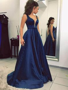 Sexy Plunge V-Neck Navy Blue Long Prom Dresses Sleeveless Satin Prom Gowns  for Party 82ce78571355