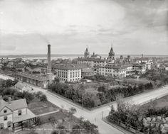 St. Augustine, Florida, circa 1890. The Ponce de Leon Hotel, rear view.