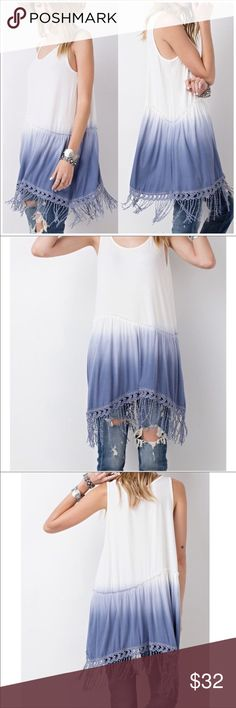 🎉BNIB🎉SLEEVELESS DIP DYE TUNIC 🎉BNIB🎉SLEEVELESS DIP DYE TUNIC                     -Baby Rib Knit  -Asymmetrical Bottom                       - Crochet & Fringe Detail at Edges.                                  - Can be worn with Jeans as Shown, Leggings or Alone in Warmer Weather. Very Soft to touch 95% Rayon easel Tops