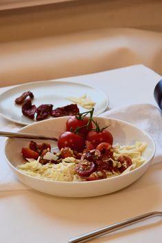 Pastasalat, Nudelsalat, Farfalle, Nudeln mit Tomaten, Tomatensalat, Salad, Pastasalad, marinierte Tomaten Pasta Salat, Waffles, Lisa, Pudding, Breakfast, Desserts, Food, Marinated Tomatoes, Noodle Salads