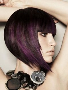 asymmetrical bob with purple highlights #OPIEuroCentrale #VantToBiteMyNeck
