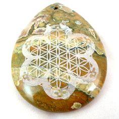 Stealie Sacred Geometry  Stone Pendant  Rhyolite by KCsGlass, $19.99