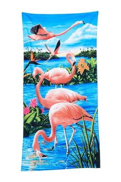 Flamingos & Lake Beach Towel - 30 x 60 - Velour - Made In Brazil Large Beach Towels, Custom Beach Towels, Flamingo Beach, Pink Flamingos, Bradley Beach, Lake Beach, Beach Bath, Beach Ready, Towel Set