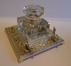 Huge Antique English Cut Crystal Inkwell on Silver Plated Stand c.1880