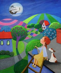 Ulla's Last Minute To Neverland,  painting by Iwona Lifshes