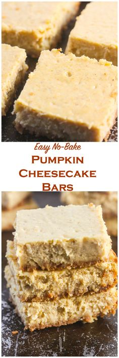 These No Bake Pumpkin Cheesecake Bars are made with your favorite seasonal flavors and are lightened up with Greek yogurt!