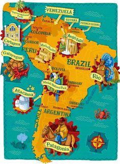 Map showing some highlights of a trip around South America - for National Geographic Traveller, by Elly Walton America Continent, South America Map, Latin America Map, George Town, Travel Maps, Travel Posters, Bolivia, Arte Latina, Peru Ecuador