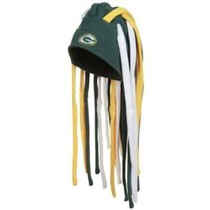 Green Bay Packers Dreadlocks Fleece Hat by '47 Brand. $35.99. Dreadlock-style team colored strands. Quality embroidery. 100% Polyester. Officially licensed. One size fits most ages 14+. Get funky with this Green Bay Packers Dreadlocks hat by 47 Brand! This officially licensed polyester hat is decorated in the team colors, with multi-colored dreadlocks hanging from the peak. The embroidered team logo is displayed on the front of the hat.