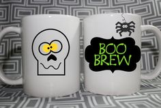 Halloween Mug  Skull and Spider Boo Brew  Made by youreventstudio1, $10.00