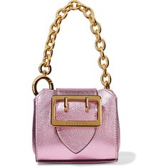 BurberryMetallic Textured-leather Keychain (€285) ❤ liked on Polyvore featuring bags, pink, pink backpack, burberry bags, detachable backpack, day pack backpack and oversized bags