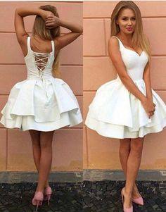 Sexy Above Knee Length White Homecoming Dress,Short Sexy