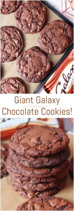 Delicious, Gooey, Crunchy and YUMMY Giant Galaxy Chocolate Chip Cookies, full of Galaxy Goodness! Giant Cookie Recipes, Chocolate Cookie Recipes, Best Cookie Recipes, Homemade Chocolate, Chocolate Cookies, Chocolate Desserts, Baking Recipes, Sweet Recipes, Giant Chocolate