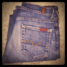 "7 for all mankind jeans 7FAMK medium blue wash jeans. Bootcut, 27 1/2"" inseam. 7 for all Mankind Jeans Boot Cut"