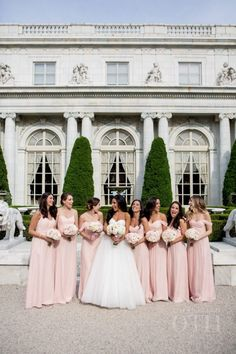 Pale pink strapless bridesmaid gowns: http://www.stylemepretty.com/rhode-island-weddings/newport-ri/2016/02/24/vintage-french-affair-wedding-at-rosecliff-mansion/   Photography: Christian Oth Studios - http://www.christianothstudio.com/