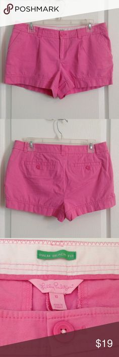 """Lilly Pulitzer Shorts size 10 Lilly Pulitzer Shorts size 10, Palm Beach Fit, 100% Cotton, soft & Pink.  Waist is 17"""" laying flat and inseam is 3""""  GUC Lilly Pulitzer Shorts"""
